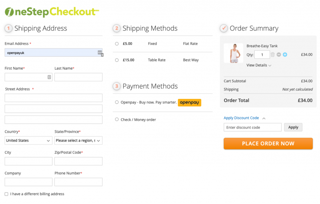 OneStepCheckout Screenshot with Openpay Payment Method
