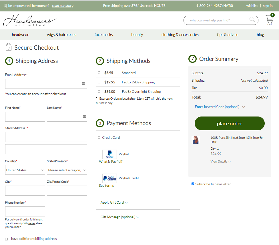 Screenshot of Magento store with OneStepCheckout and PayPal Credit