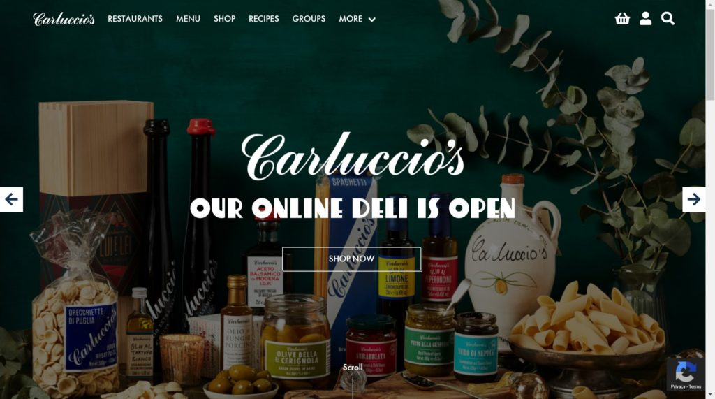 Carluccios WordPress BigCommerce Headless Commerce Site Example